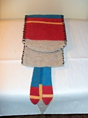 Vintage, c 1950's, Native American Carrying/Medicine Pouch, Wool, Hand Made