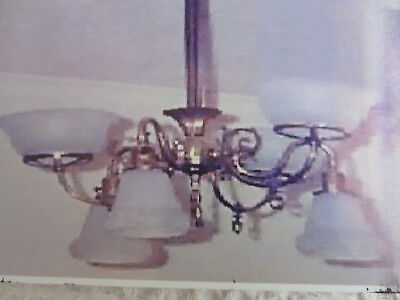 """antique brass gasolier chandelier with 6 glass shades 3 up 3 down converted 18"""""""