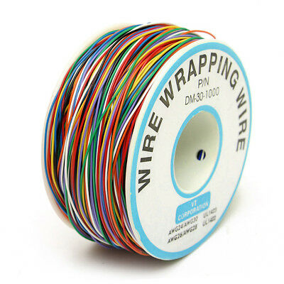 305M/1000ft 30AWG Tin Plated Copper 8-Wire Wrapping Wire Colored Test Cable Reel