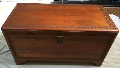 Vintage Oriental Carved Camphor Wood Chest and Coffee Table (can deliver locally