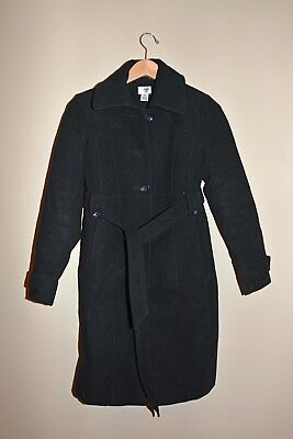 Motherhood Maternity Black Peacoat Long Buttoned Dress Trench Size S