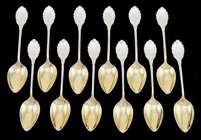 12 Antique c1865 Gorham Grecian Coin Silver Gilt Bowl Demitasse/Coffee Spoons