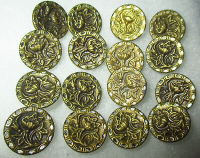 SET 16 ANTIQUE VICTORIAN BRASS METAL FLOWER BUTTONS w MIRROR BORDER - 9/16""