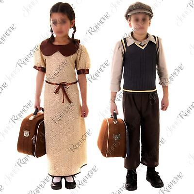 Kids Girls Boys Wartime Evacue Costume 1940s Historical Book Day Fancy Dress