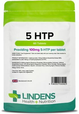 5-HTP 100mg 60 Tablets Anxiety Appetite Depression Insomnia Serotonin Lindens UK