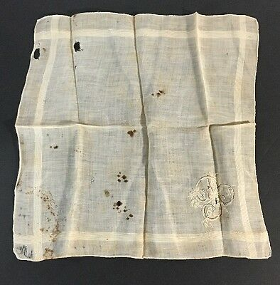 Lovely VIntage White Brown Black Embroidered Floral Hanky Wedding Handkerchief