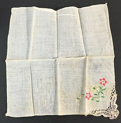 Lovely VIntage White Pink Yellow Green Lace Floral Hanky Wedding Handkerchief