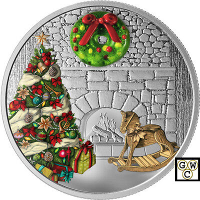 2019 'Holiday Wreath (Murano Glass)'Proof $20 Silver Coin 1oz .9999Fine(18640)NT
