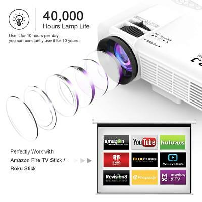 """DR.J  4Inch Mini Projector with 170"""" Display - 40,000 Hour LED white 1080P"""