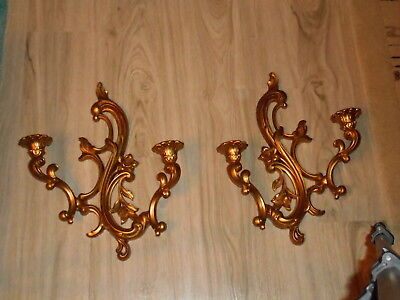 Vintage Syroco Gold 2 Candle Holder Wall Sconces Hollywood Regency
