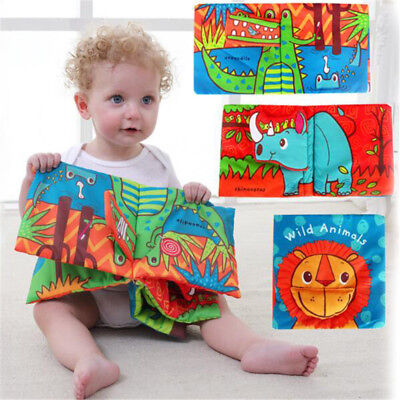 First Steps Cloth Baby Book Early Learning Educational Toys for kids Rattle 8C