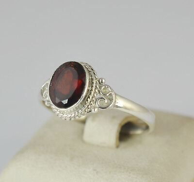 Garnet 925 Solid Sterling Silver Handmade Midi Ring Size 3-13 US