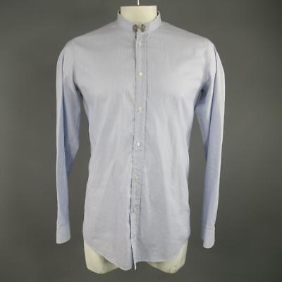 BALMAIN Size L Light Blue Striped Cotton Long Raw Collar Sleeve Shirt
