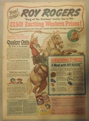"Quaker Cereal Ad: ""Roy Rogers Western Contest"" from 1948 Size: 11 x 15 inches"