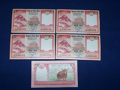 Lot of 5 Bank Notes from Nepal 5 Rupees Uncirculated Consec SNs