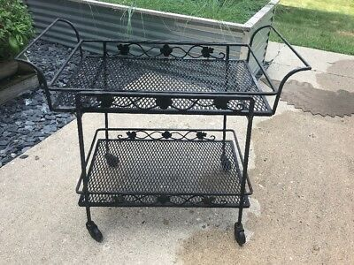 Vintage Wrought Iron Woodard Outdoor Patio Serving Cart Bar Mid Century Black