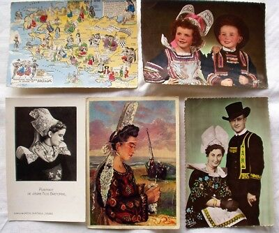 BRITTANY, FRANCE, Traditional Costumes (5 postcards)