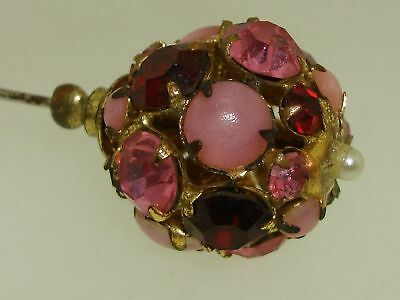 Vintage 1930-40'S Foiled Shades Of Pink & Red Rhinestone Hat Pin!