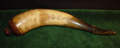 """Antique 1700's early 1800's American Rifleman's 17"""" Large Powder Horn - Cow Horn"""