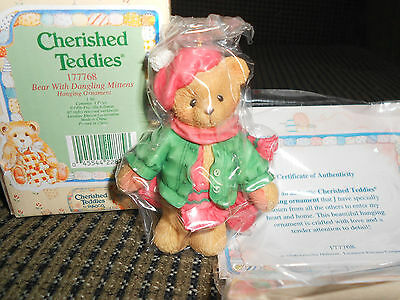1996 Enesco CHERISHED TEDDIES #177768 BEAR with MITTENS CHRISTMAS ORNAMENTS