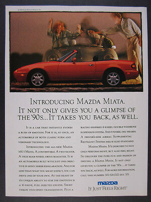 1990 Mazda MX-5 MIATA 'Introducing' red car side-view photos vintage print Ad