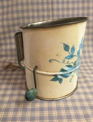 "Vintage Flour Sifter Grapes Design Mid-century 6-1/4""x5"" Aqua Handle"
