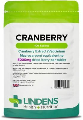 Cranberry Juice 5000mg 100 Tablets Bladder Cystitis Urinary Tract Lindens UK