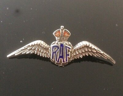 VINTAGE WW2 ROYAL AIR FORCE Silver & Enamel RAF 'Wings' Sweetheart Brooch  Badge