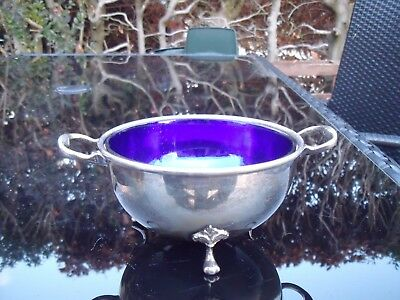 Antique Silver Plated Sugar Bowl with Claw Feet & Blue Glass Liner.