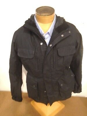 Barbour International Delta Waxed Cotton Field Jacket NWT Medium $399 Black