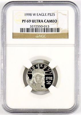 1998-W $25 American Eagle 1/4 oz Platinum Proof Coin NGC Graded PF69 ULTRA CAMEO