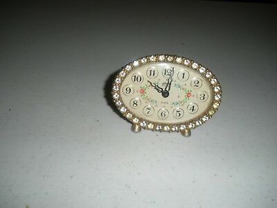"""Small  2 1/2"""" Tall Vintage Linden Black Forest Alarm Clock With Glass Diamonds"""