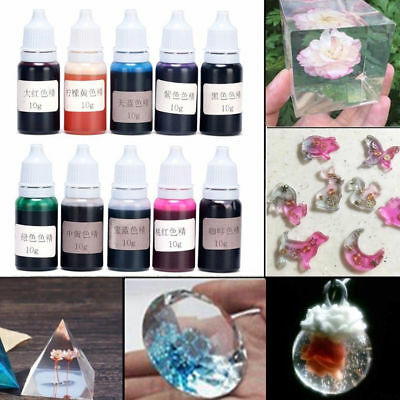10 Bottle 10G Epoxy Mix Color UV Resin Coloring Dye Colorant Pigment Crafts L130