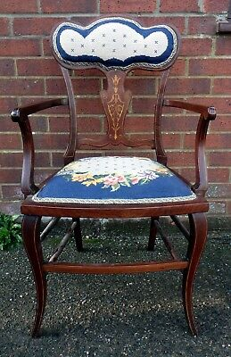 Edwardian antique solid mahogany inlaid woolwork armchair elbow bedroom chair
