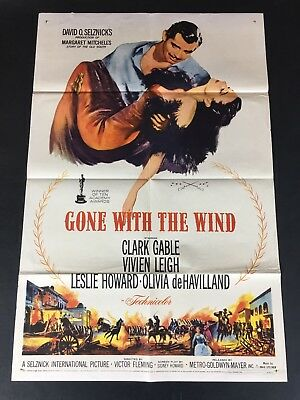 Gone With The Wind Original Us One Sheet Movie Poster R1961! Rare! Great Image!