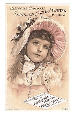 Standard Screw Fastened Shoes Victorian Trade Card - Young Girl in Bonnet