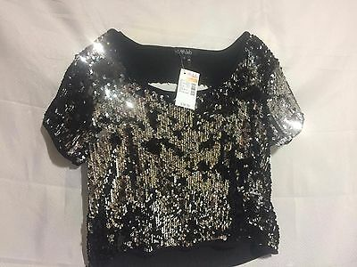 Women's Deb Black & Silver Back Cut Out Sequin Top Size Small NWT