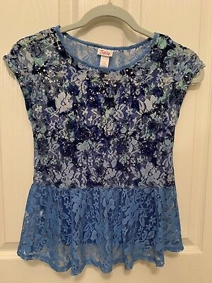 e681ea2ac6 JUSTICE GIRLS SIZE 10 Peplum Shirt With Attached Tank Top -  10.00 ...