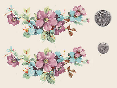 """2 x Waterslide ceramic decals. Pink & blue wild roses Approx. 6"""" x 2 3/4"""". PD46"""