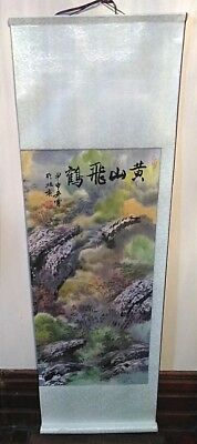 Vintage Hand Painted Landscape Japanese Wall Scroll Painting Signed Marked