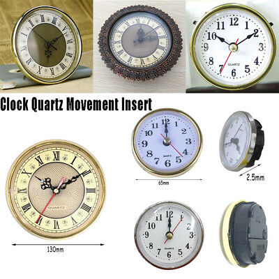 65mm/190mm Clock Quartz  Mechanism Movement Insert Numeral White Face Gold Trim