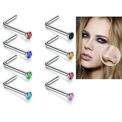 10X Rhinestone L-Shaped Stainless Steel Nose Ring Body Piercing Studs Jewelry
