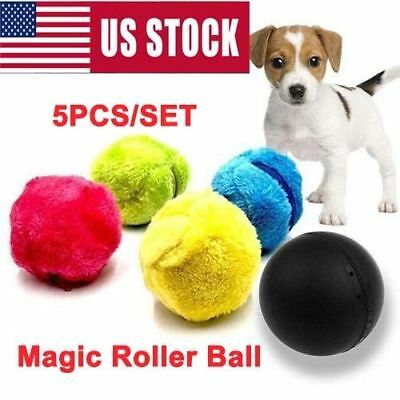 5PCS/SET Magic Roller Ball Toy Automatic Roller Ball Plush Ball Dog Cat Pet Toy
