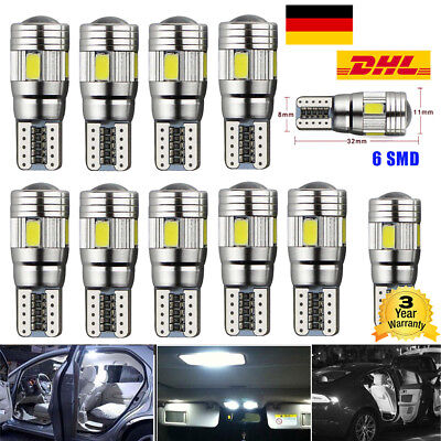 10x T10 LED 6 SMD Auto Birne Canbus Innenraumbeleuchtung Kennzeichenbeleuchtung
