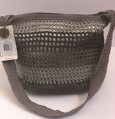 9facc3f18 NWT THE SAK BAG Hand-Crocheted Shoulder Bag Satchel RIVIERA STRIPES  Gray/Silver