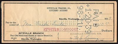 Cheque - USA - Old National Bank & Union Trust Co, Ritzville, Washington, 1939