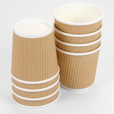 100 x 4oz Brown Paper Coffee Cups Kraft Ripple 3 Ply Insulated Tea Espresso