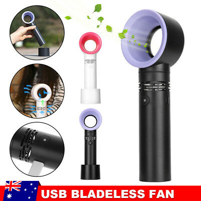 360 Degrees Portable Bladeless Hand Held Cooler USB Cable No Leaf Handy Fan Mini