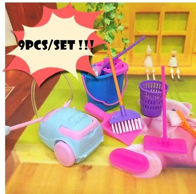 9pcs/lot House Cleaning Mop Broom Tools Pretend Play Toys Kits Children Games
