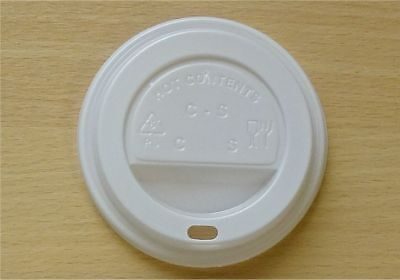 Disposable Plastic White Sip Lids 90mm Coffee Tea Hot/Cold Drinks For Paper Cup